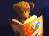 A teddy bear reading a book